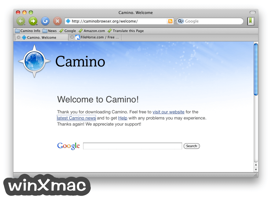 Camino Browser for Mac Screenshot 1