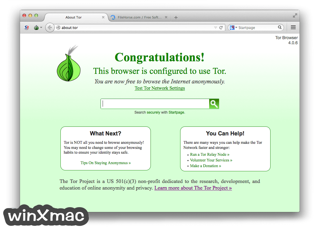 Tor Browser for Mac Screenshot 1