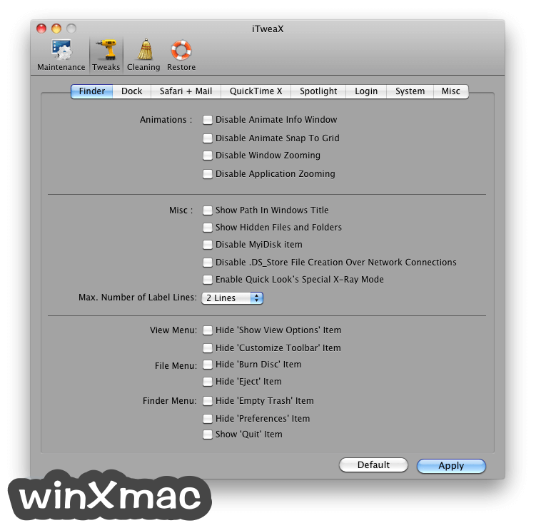 iTweaX for Mac Screenshot 2