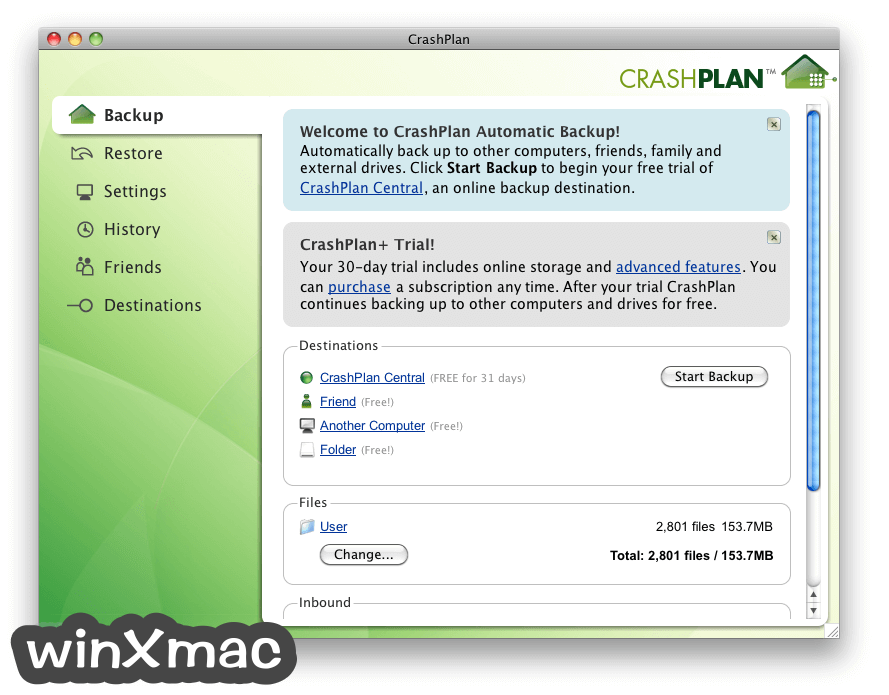 CrashPlan for Mac Screenshot 1