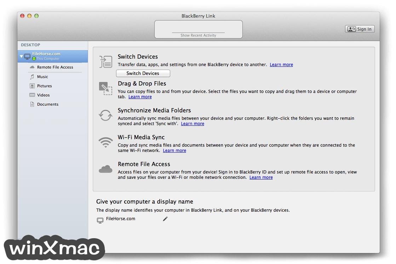 BlackBerry Link for Mac Screenshot 1