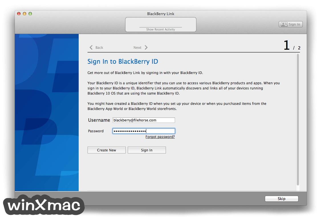 BlackBerry Link for Mac Screenshot 2