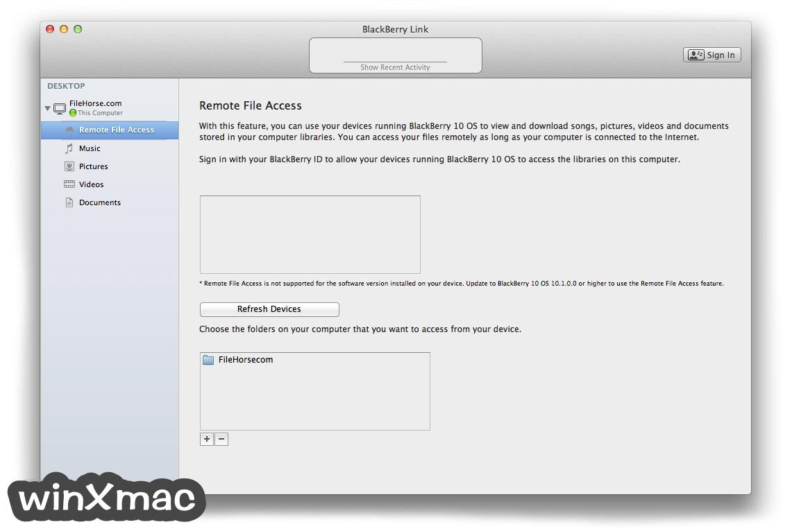 BlackBerry Link for Mac Screenshot 3