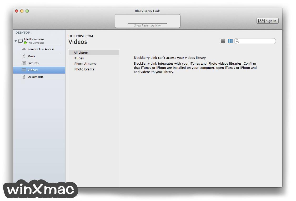 BlackBerry Link for Mac Screenshot 4