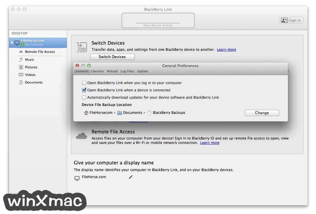 BlackBerry Link for Mac Screenshot 5