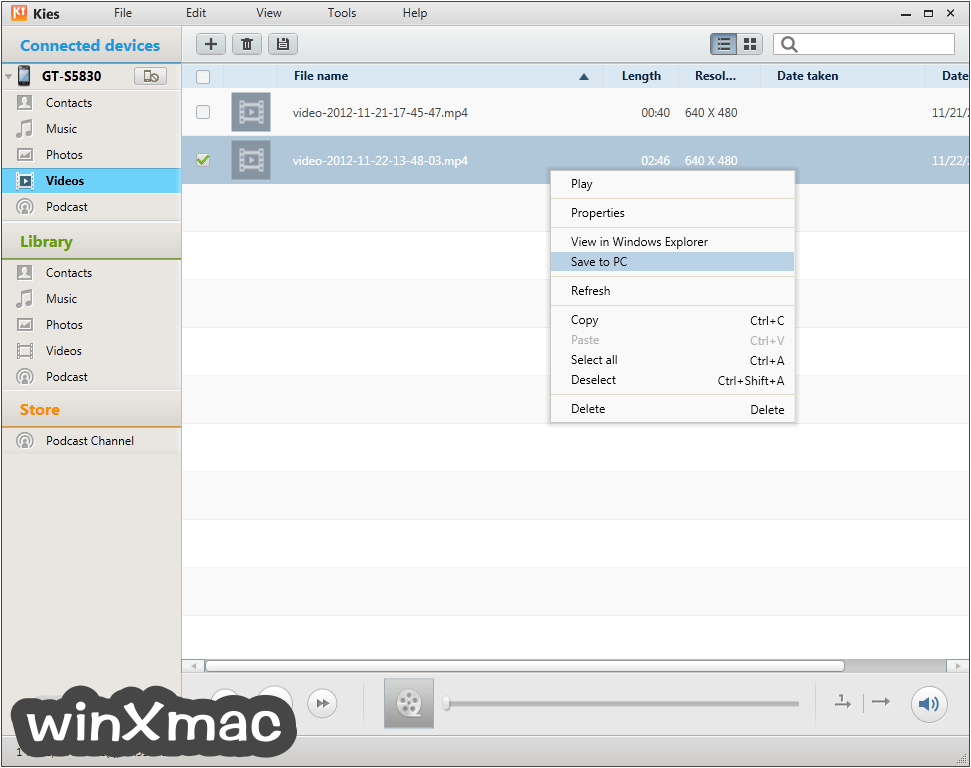Samsung Kies for Mac Screenshot 4