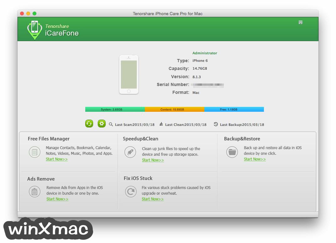 Tenorshare iCareFone for Mac Screenshot 1