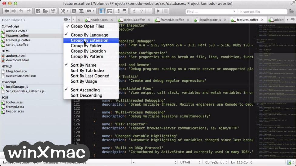 Komodo Edit for Mac Screenshot 4