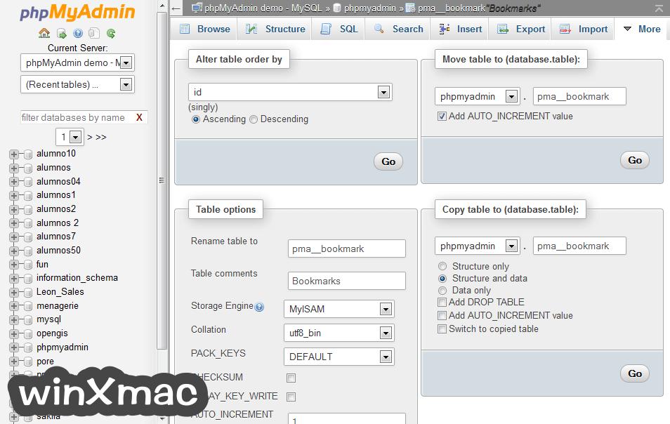phpMyAdmin for Mac Screenshot 4