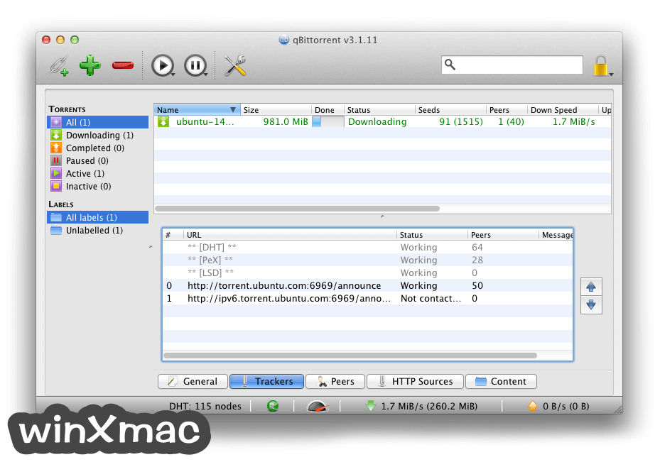 qBittorrent for Mac Screenshot 2