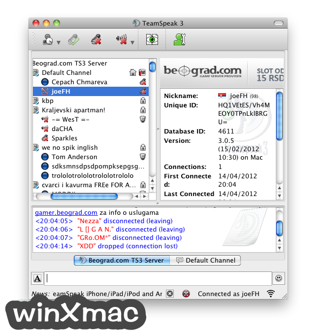 TeamSpeak Client for Mac Screenshot 2