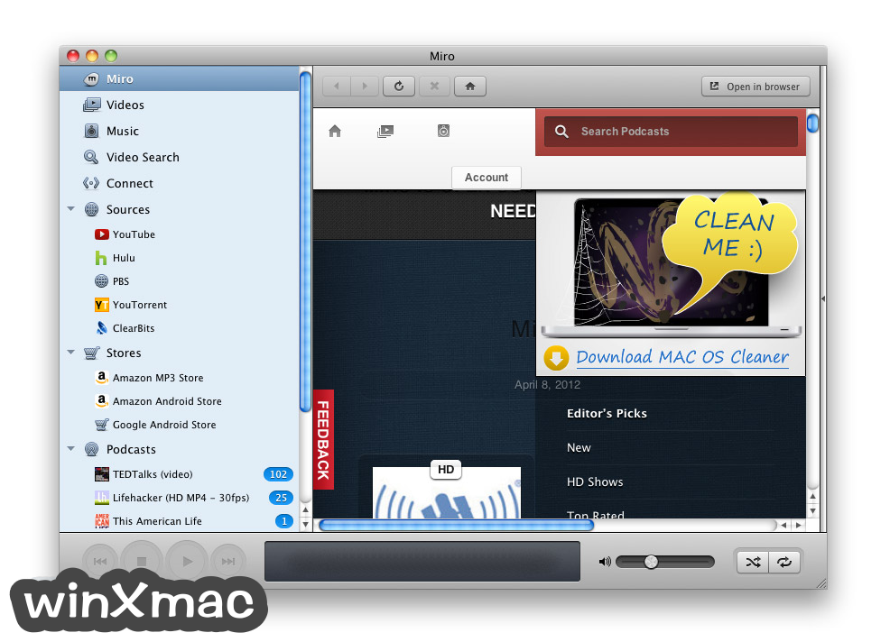 Miro Video Player for Mac Screenshot 1