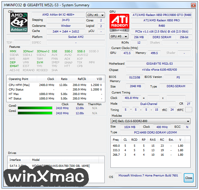 HWiNFO32 Screenshot 1