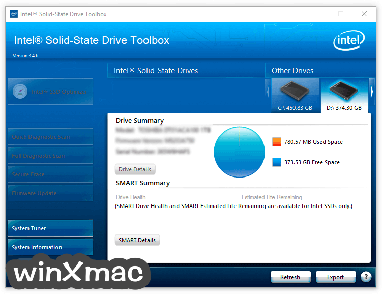 Intel Solid-State Drive Toolbox Screenshot 1