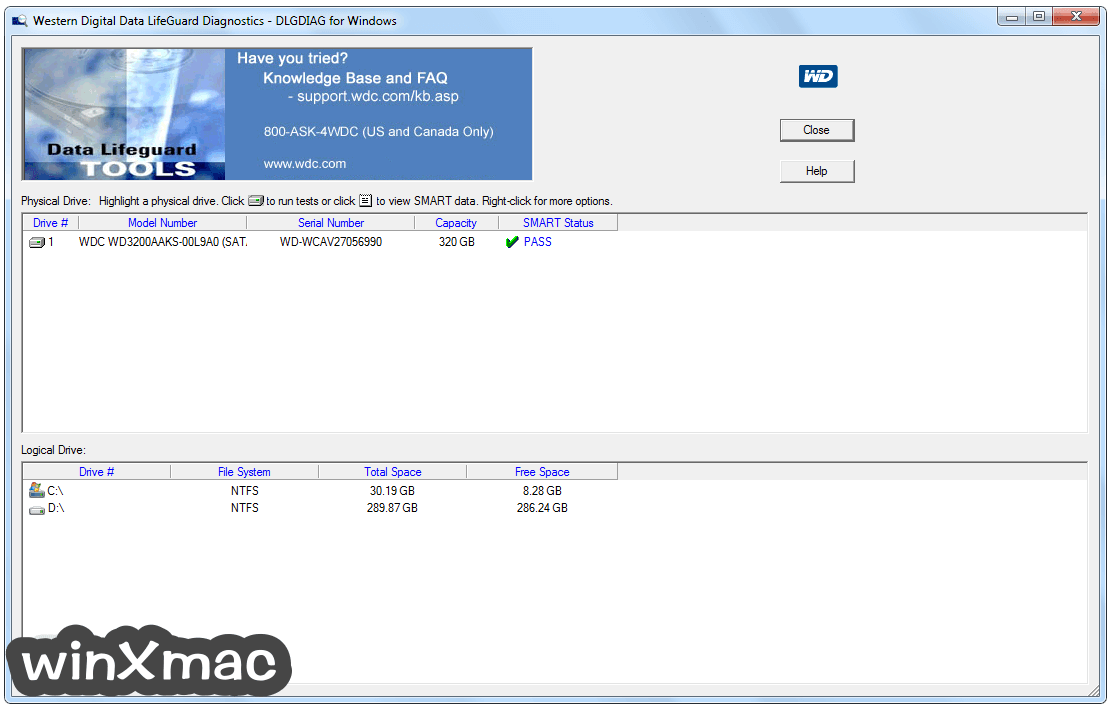 WD Data LifeGuard Diagnostics Screenshot 1