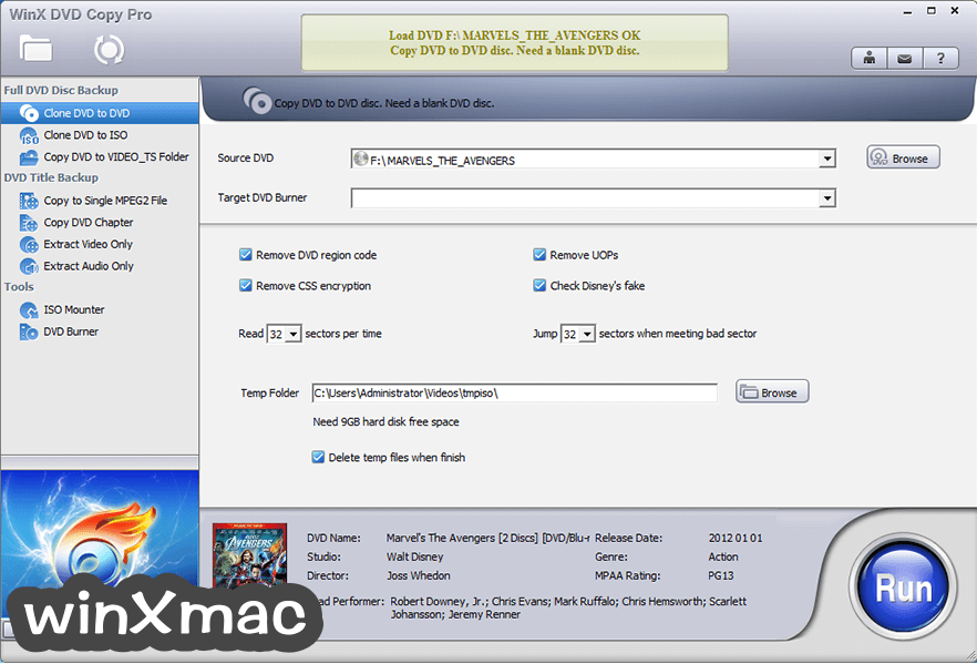WinX DVD Copy Pro Screenshot 1