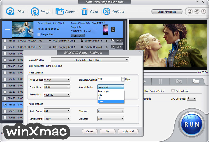 WinX DVD Ripper Platinum Screenshot 5