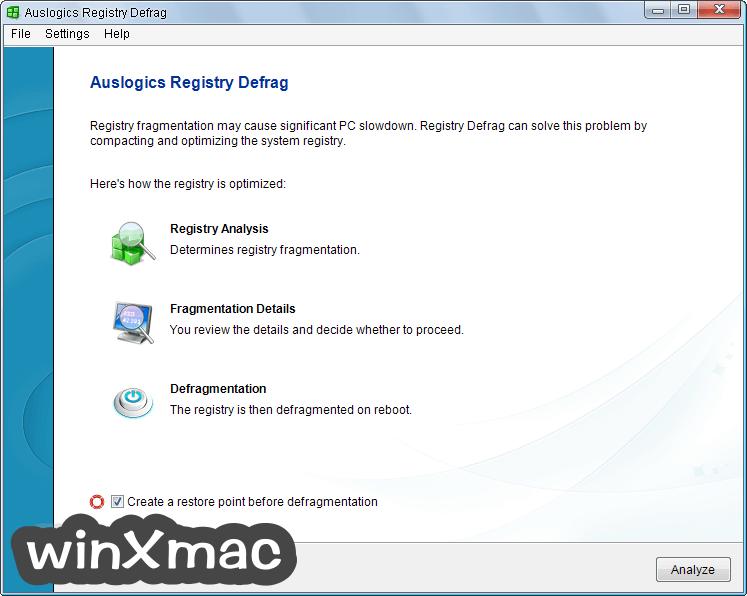 Auslogics Registry Defrag Screenshot 1