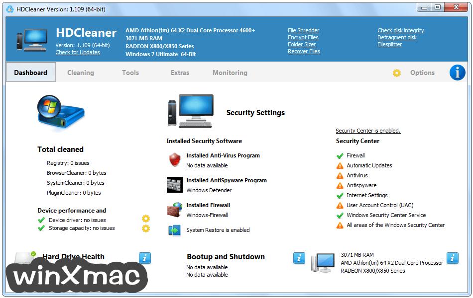 HDCleaner Screenshot 1
