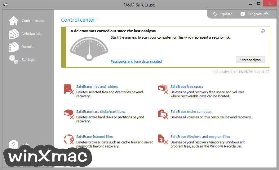 O&O SafeErase Professional Edition (32-bit) Screenshot 1