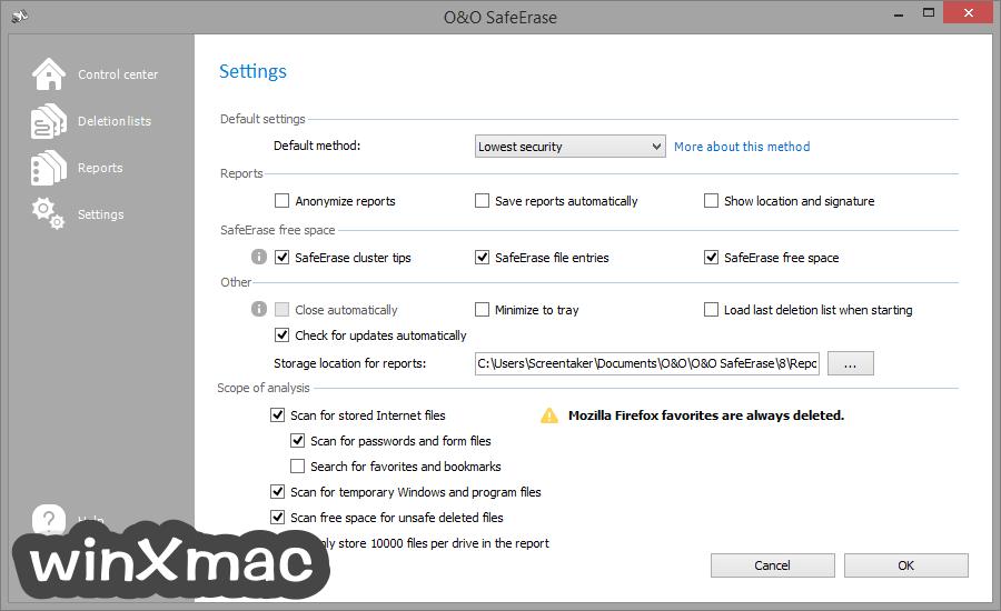 O&O SafeErase Professional Edition (32-bit) Screenshot 2
