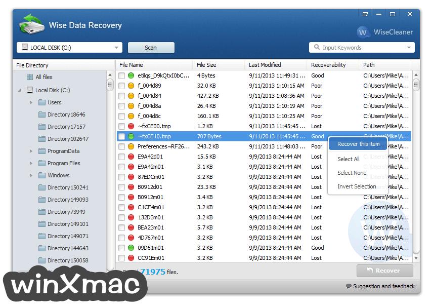 Wise Data Recovery Screenshot 1