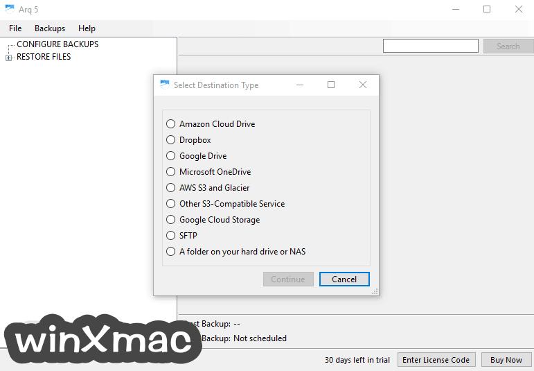 Arq Backup Screenshot 1