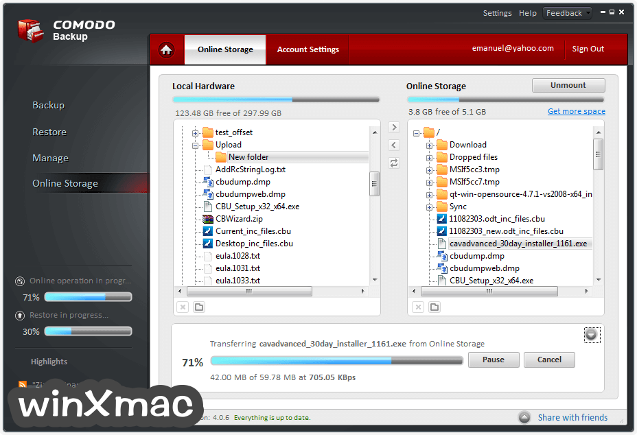 Comodo Backup Screenshot 1