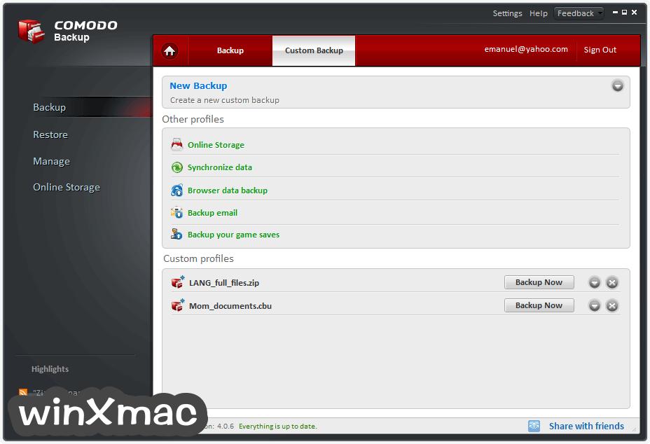 Comodo Backup Screenshot 2