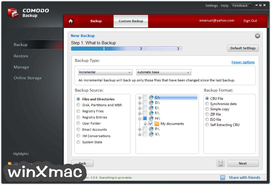 Comodo Backup Screenshot 3