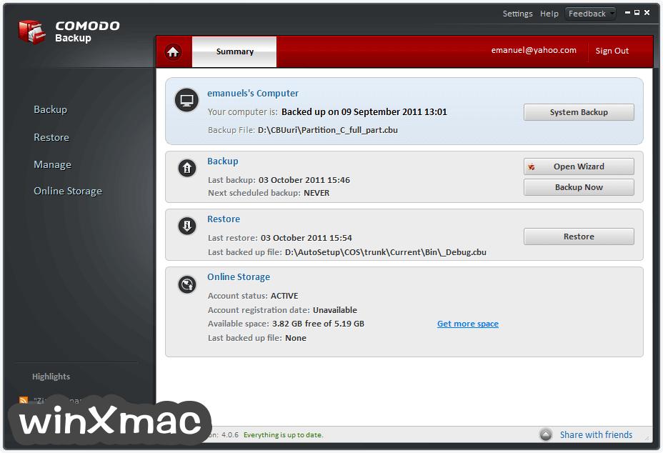 Comodo Backup Screenshot 4