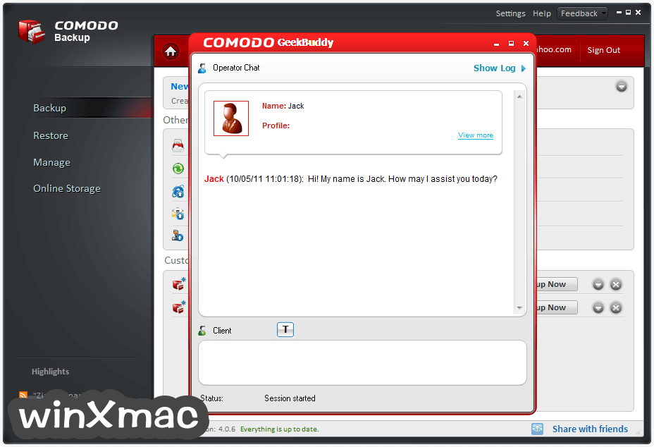 Comodo Backup Screenshot 5
