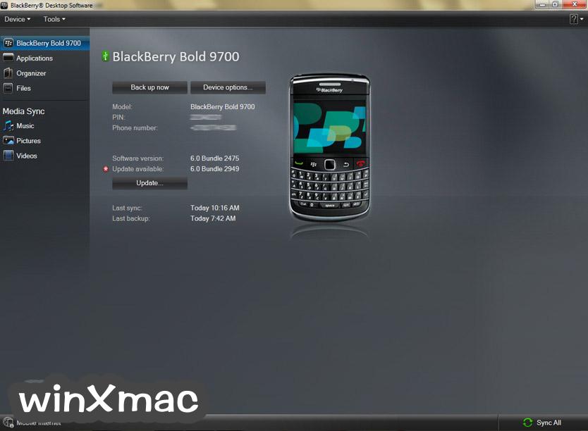 BlackBerry Desktop Software Screenshot 1