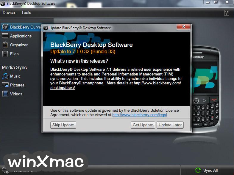BlackBerry Desktop Software Screenshot 2