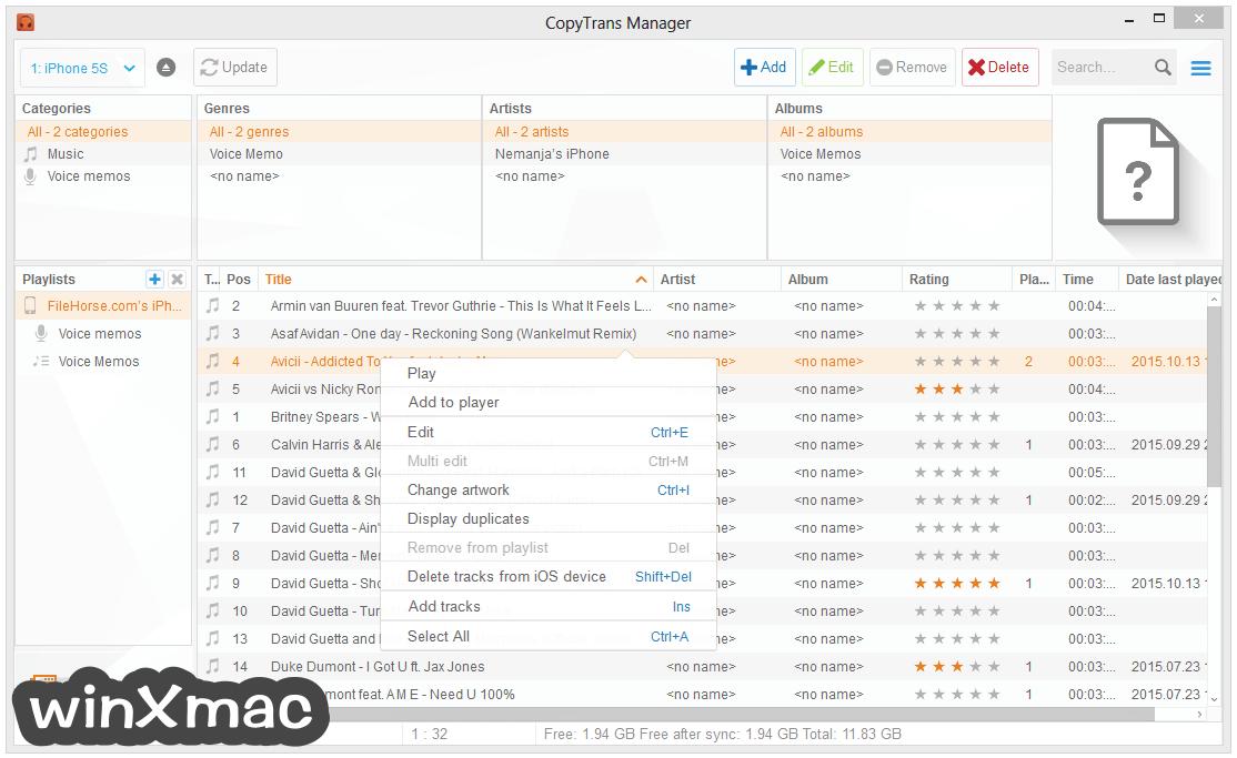CopyTrans Manager Screenshot 2