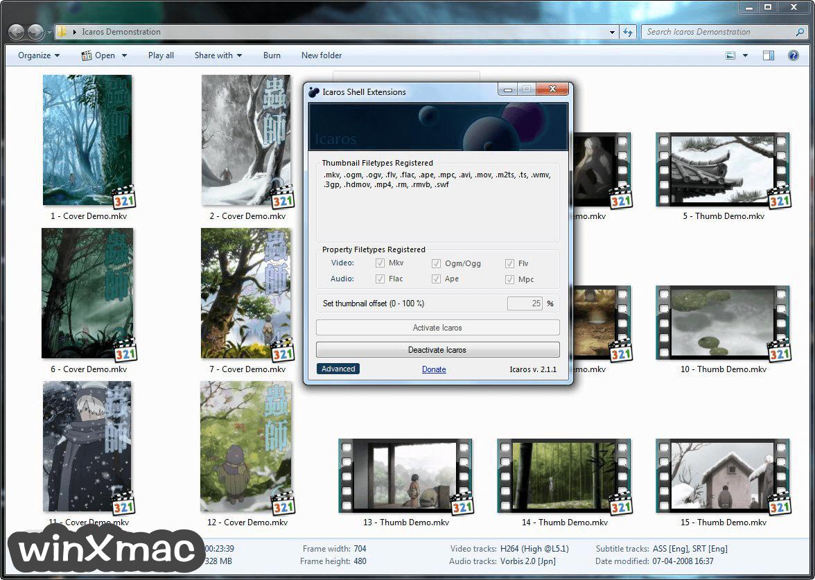 Icaros Shell Extensions Screenshot 1