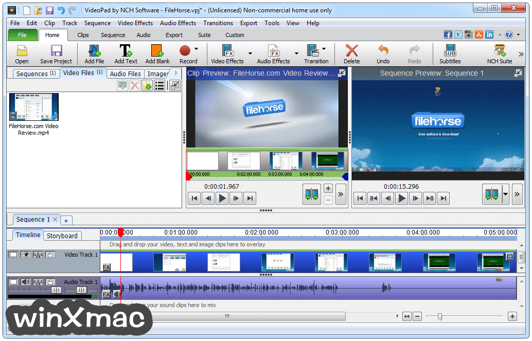 VideoPad Video Editor Screenshot 1